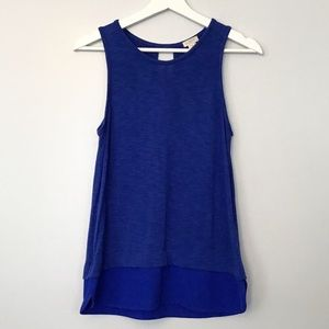 J Crew XS Tank Top Shirt Blue Dual Fabric